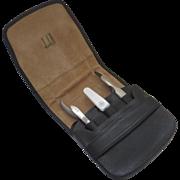 Vintage Black Leather Dunhill Pouch Case Manicure