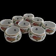 Vintage Set of Eight (8) Royal Worcester Fine Porcelain Evesham Napkin Rings Gold Fruit