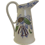 "Very Tall Large Earthenware English Pitcher c 1900 ""Faience Anglaise Premiere Qualite"" Fuchsia 14"""
