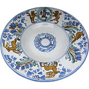 Vintage Large Faience Majolica Italian Italy Charger Plate 18th Century Style Dated Family Crest Lions Deer Birds