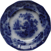 c 1850 Flow Blue Plate Sobraon by Samuel Alcock Chinoiserie