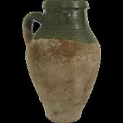 Vintage Pottery Urn Jug with Handle Green Glazed Lip