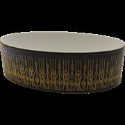 Vintage c 1960's Black Gold Geometric Rosenthal Studio Line Soap Trinket Dish by Hans Theo Baumann