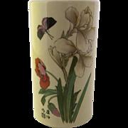 Vintage McCoy Pottery Vase #677 Floral Motif Butterfly Japanese Cylinder Shape