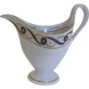 English Blue Gold Gilt Helmet Shaped Cream Pitcher Creamer 19th Century