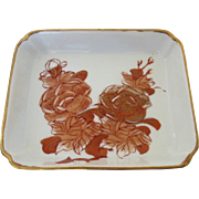 Vintage Japan Japanese Small Square Dish Trinket Pin Rust Gilt