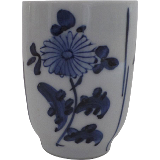 19th Century Japanese Blue and White Tall Cup Chrysanthemum