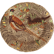 8 x Vintage French Gien Rambouillet Faience Hand Painted Pheasant Grouse Plates