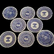 """8 x Vintage Spode Blue Room Collection Plates """"Botanical"""" -  """"Warwick Vase"""" - """"Greek"""""""