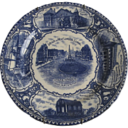 English Staffordshire Blue and White Historic Plate New London Connecticut