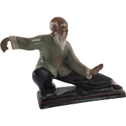 Vintage Glazed Chinese Mudman Tai Chi Pose
