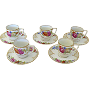 "Vintage Rosenthal ""The Dresden"" Set of 5 Demitasse Cup and Saucers Floral"