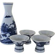 Vintage Blue and White Japanese Sake Set