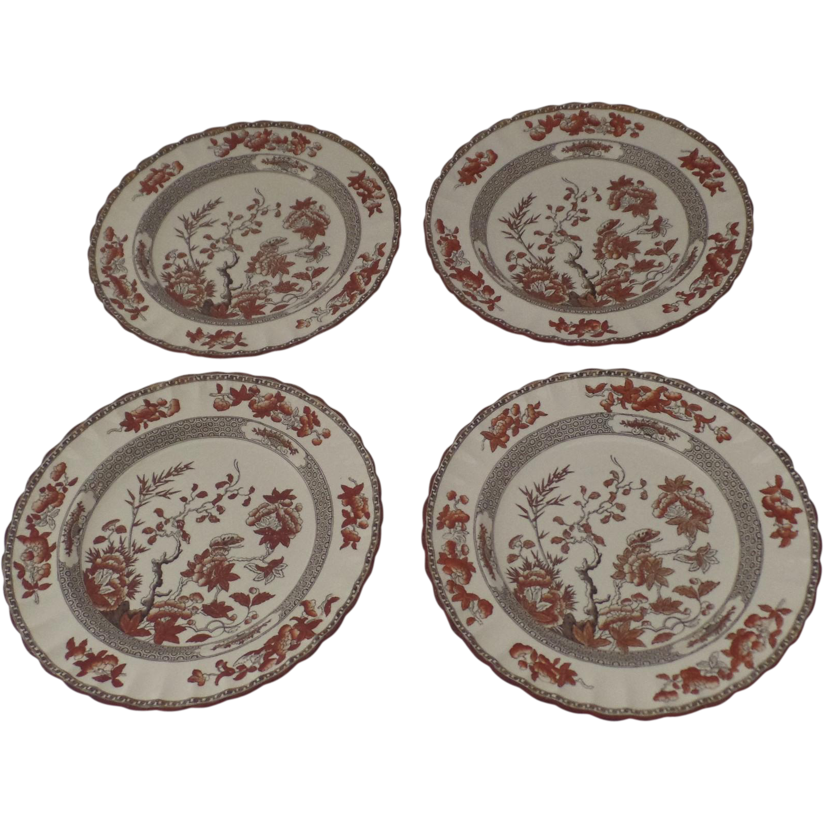 4 X Vintage Spode India Indian Tree Rust Plates Dinner From Black