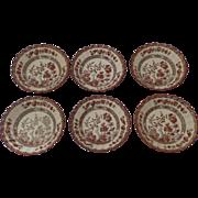 6 x Vintage Spode India Indian Tree Rust Older Backstamp Fruit Bowls