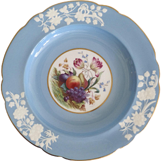 "Set of (12) Twelve Spode Copeland 8 7/8"" Plates Fruit Flower Floral Motif Retained by Tatman Chicago"