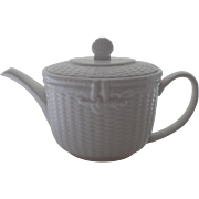 Vintage 1980's Nantucket White Basket Weave Tea Pot