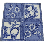 "Aesthetic Blue and White Transferware English 6"" Tile 19th Century Peaches Signed Maker's Mark"