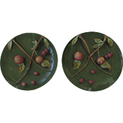 Two Pair Large Majolica Vintage Chargers Three dimensional Fruit Apples Cherries