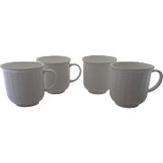 Set of Four (4) Wedgwood Nantucket Basket Weave White Mugs