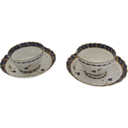 Pair Two Worcester Handleless Cups Saucers c 1780