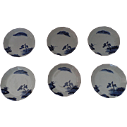 Six 19th Century Japanese Blue and White Porcelain Prunus Decorated Saucer Dishes, Bowls, Plum Blossom