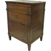 French Lift Top Walnut Commode Side Table 19th Century
