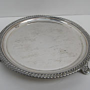 "Early Sheffield Fused Plated Footed 8"" Salver Gadrooned Edge"
