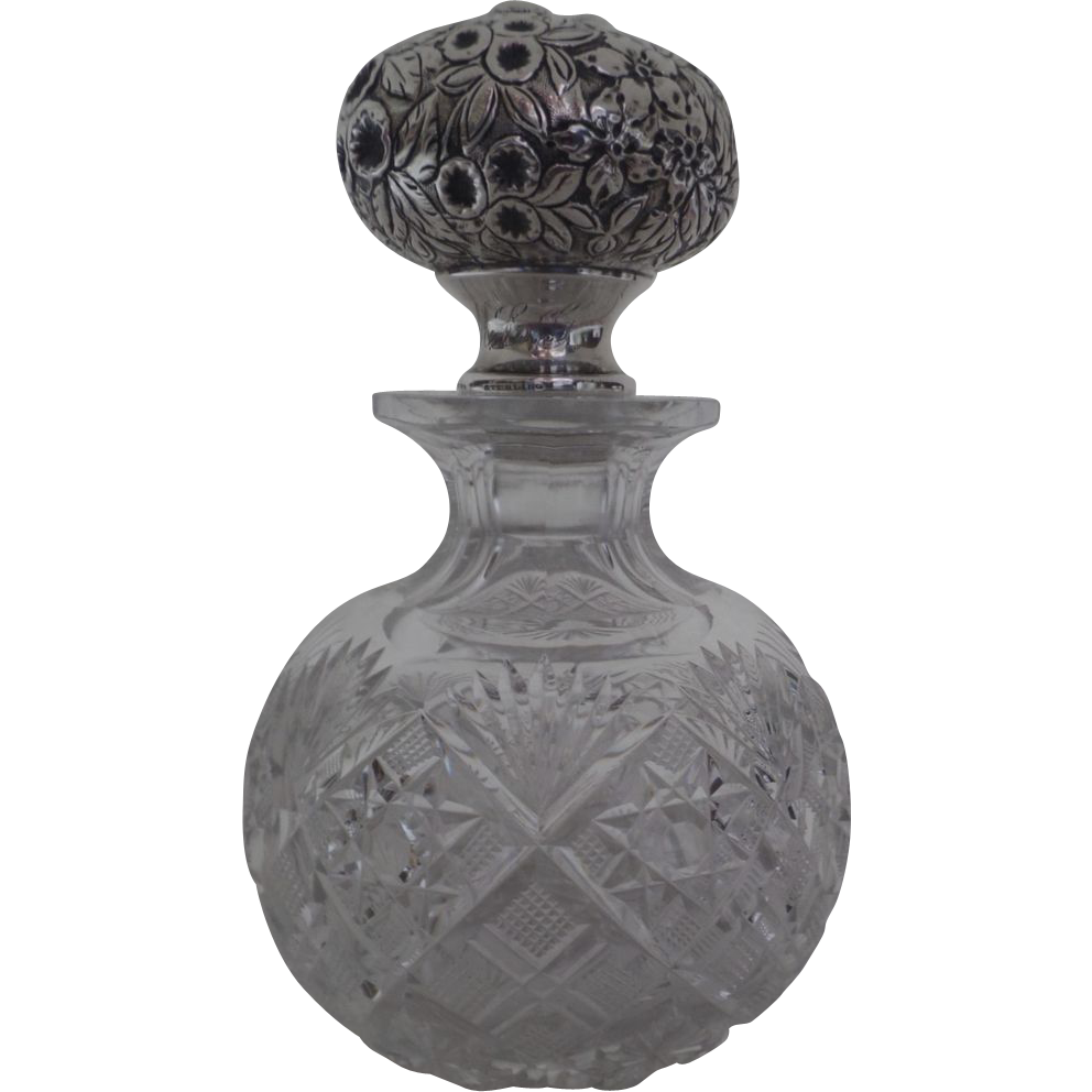 Sterling james r armiger baltimore repousse glass perfume bottle 8