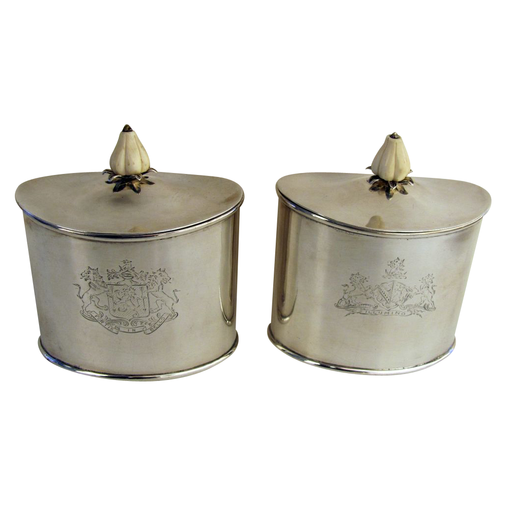Pair of 18th Century Georgian Sterling Tea Caddies John Schofield