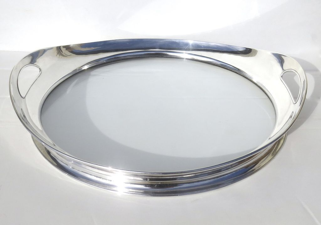 Sterling and Glass Bottom Tray Modern Clean Simple Lines
