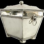 English Old Sheffield Silver Tea Caddy Lion Head