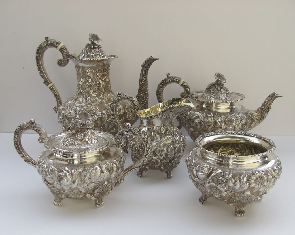 Sterling Silver Tea Coffee Set Repousse Baltimore Rose By