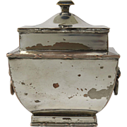 English Early Sheffield Plate Sarcophagus Shaped Tea Caddy C.1820