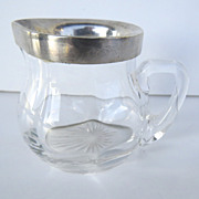 European Cut and Blown Glass and Silver Small Creamer Pitcher