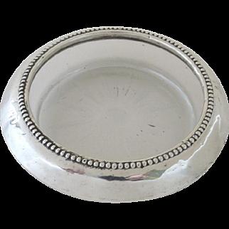 Bernard Instone Company Beaded Sterling Glass Coaster Ring Holder Candle Holder