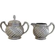 19th Century G. T. Sutterley & Co. Philadelphia Quadruple Silver Plate Creamer and Sugar