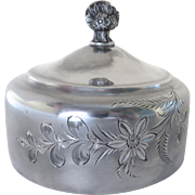 Silver Plate Esthetic Engraved Butter Dish Lid c 1890