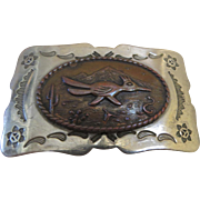Vintage 1960's Bell Trading Company New Mexico Belt Buckle Nickel Silver Copper Road Runner Snake