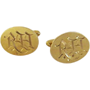 Pair of 1930's 14K Oval Engraved Cufflinks 16grams