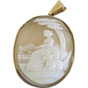 Late 19th Century Cameo with 14K Gold Bezel Woman and Dog