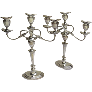 Pair of Large Late 19th Century Silver on Copper Candelabras Convertible by Jenkins & Timm Sheffield, England English S.2368
