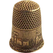 19th Century 14K Gold Thimble with City Scene Size 6