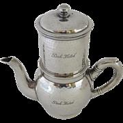 "1920's HOTEL silver Coffee Tea Pot French Press Individual ""Park Hotel"" Art Deco"