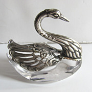 Silver and Crystal European 800 Fineness Swan with Folding Wings