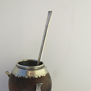 South American Gourd Silver Mate Cup and Straw 1930's
