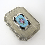 Vintage Compact with Enamel Plaque by A.L.L. Co.