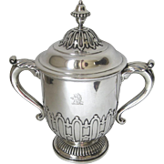 Sterling Silver Large Covered Urn Trophy Cup Two Handles Lid Carrington Co. Armorial Family Crest c 1930