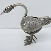 Vintage Sterling Silver Bird Figurine Marble Body