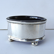 English Sterling Silver Salt with Cobalt Liner c 1920